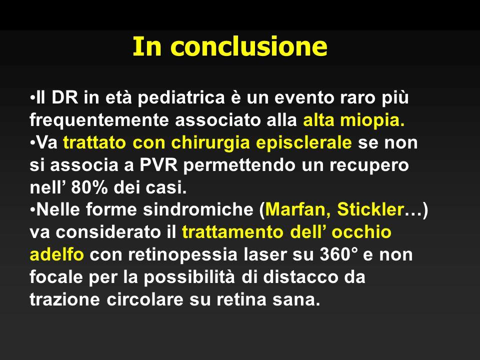 In conclusione Il DR in età pediatrica è un evento raro più frequentemente associato alla alta miopia. Va trattato con chirurgia episclerale se non si
