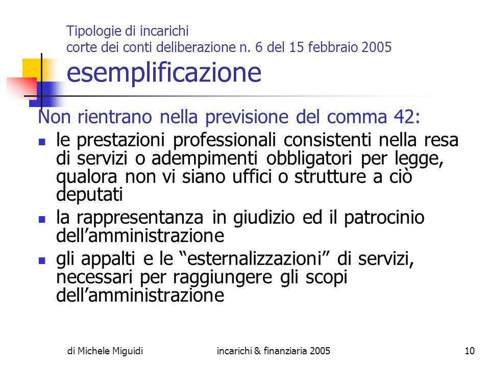 di Michele Miguidiincarichi & finanziaria 200510 Tipologie di incarichi corte dei conti deliberazione n.