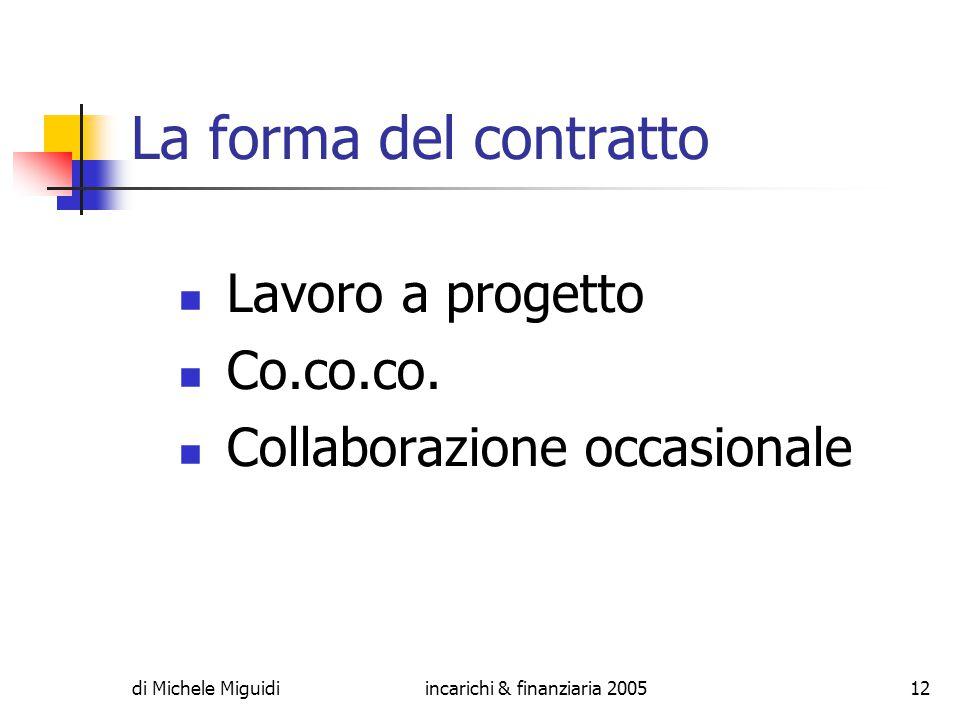 di Michele Miguidiincarichi & finanziaria 200512 La forma del contratto Lavoro a progetto Co.co.co.