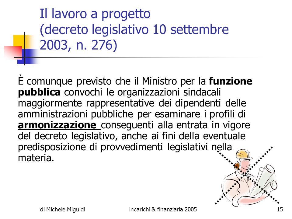 di Michele Miguidiincarichi & finanziaria 200515 Il lavoro a progetto (decreto legislativo 10 settembre 2003, n.