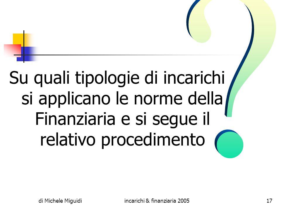 di Michele Miguidiincarichi & finanziaria 200517 Su quali tipologie di incarichi si applicano le norme della Finanziaria e si segue il relativo procedimento