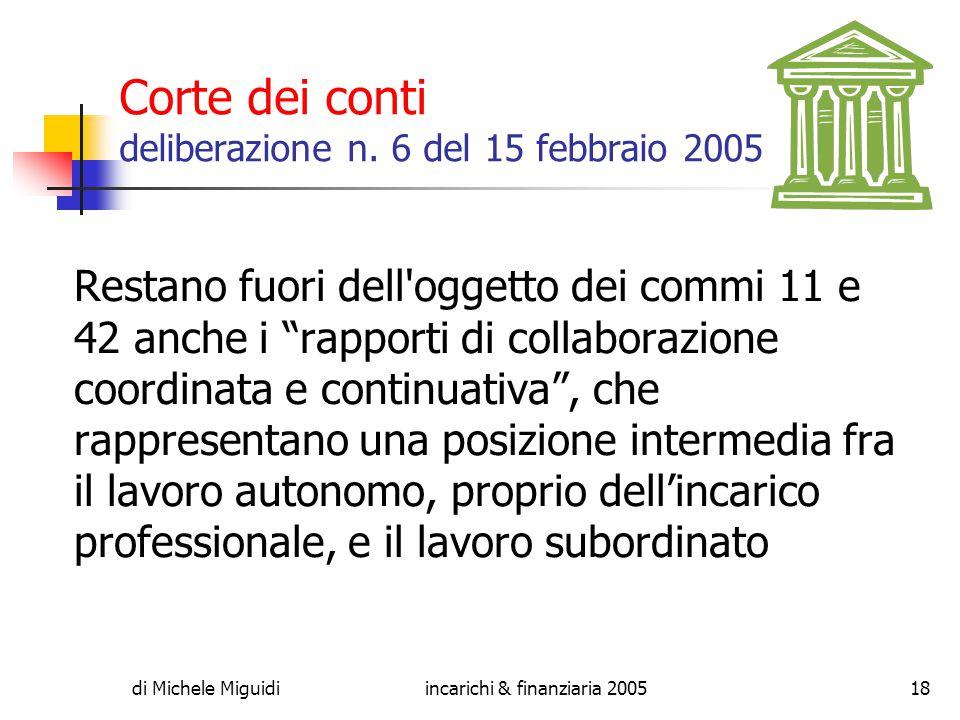 di Michele Miguidiincarichi & finanziaria 200518 Corte dei conti deliberazione n.