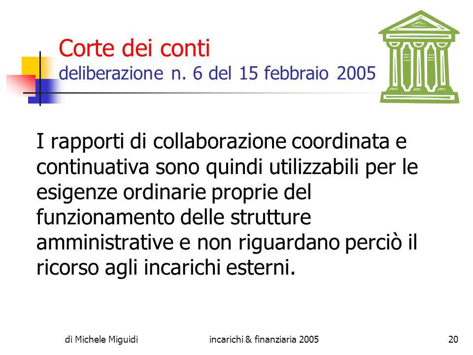 di Michele Miguidiincarichi & finanziaria 200520 Corte dei conti deliberazione n.