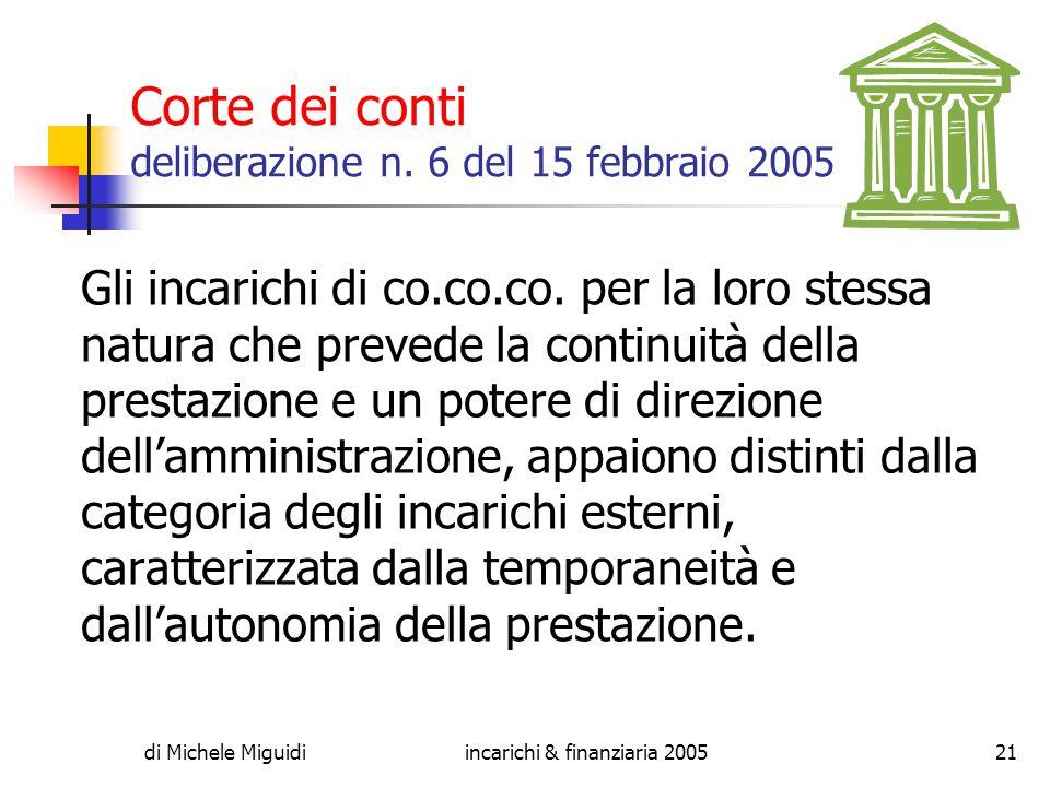 di Michele Miguidiincarichi & finanziaria 200521 Corte dei conti deliberazione n.