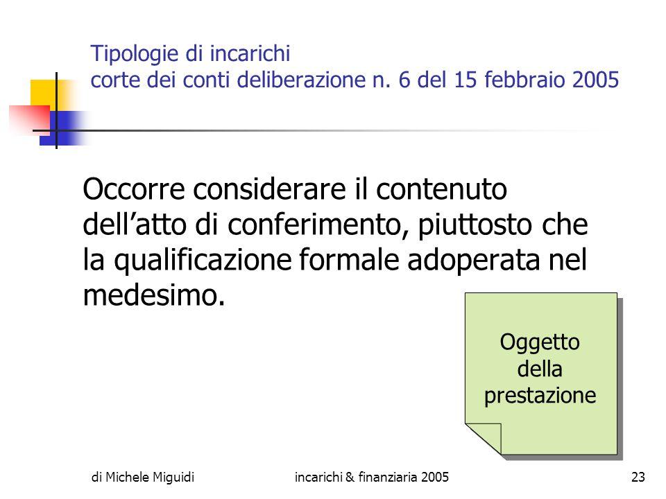 di Michele Miguidiincarichi & finanziaria 200523 Tipologie di incarichi corte dei conti deliberazione n.