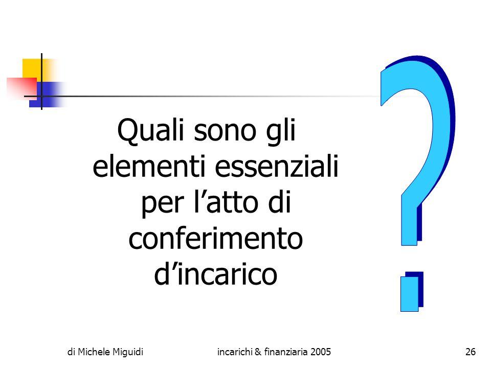 di Michele Miguidiincarichi & finanziaria 200526 Quali sono gli elementi essenziali per l'atto di conferimento d'incarico