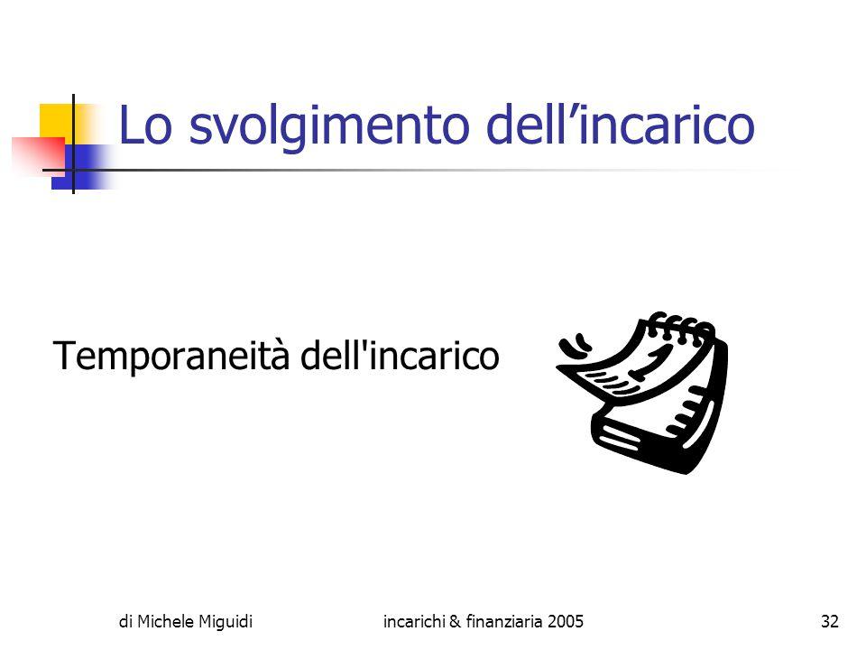 di Michele Miguidiincarichi & finanziaria 200532 Lo svolgimento dell'incarico Temporaneità dell incarico
