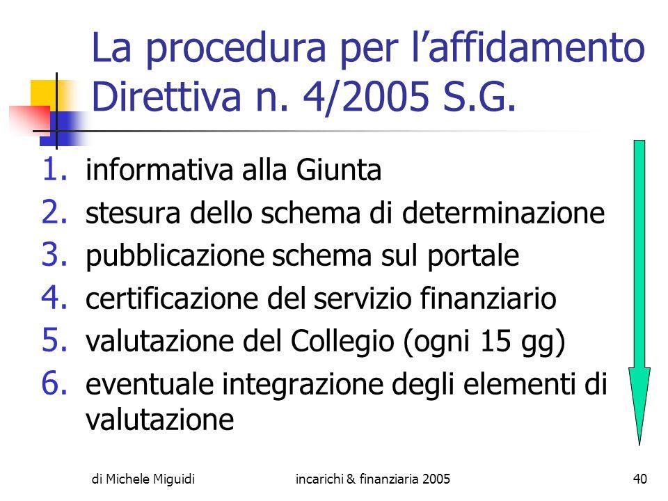 di Michele Miguidiincarichi & finanziaria 200540 La procedura per l'affidamento Direttiva n.