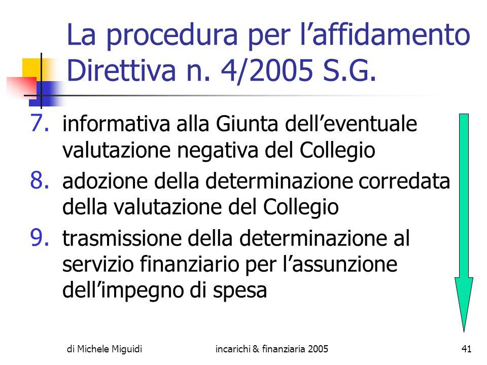 di Michele Miguidiincarichi & finanziaria 200541 La procedura per l'affidamento Direttiva n.