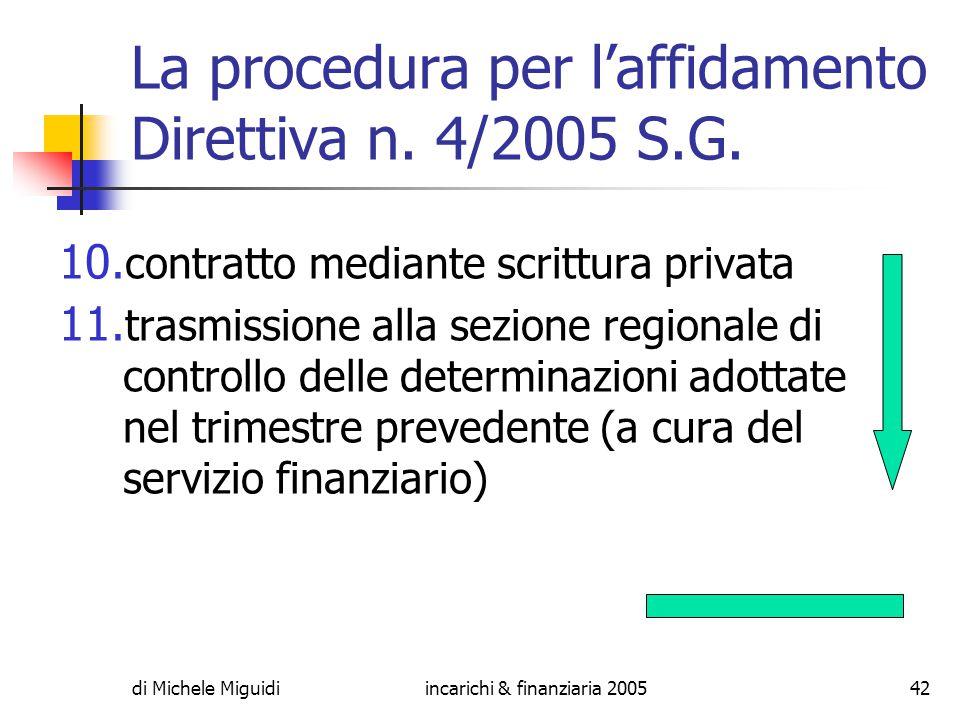 di Michele Miguidiincarichi & finanziaria 200542 La procedura per l'affidamento Direttiva n.