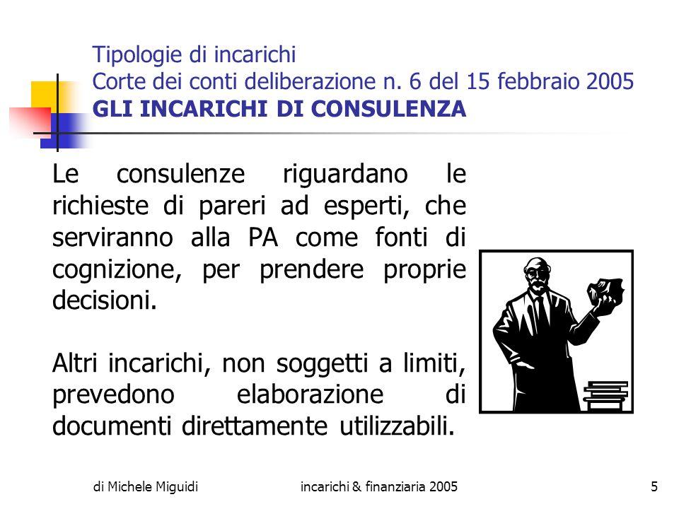 di Michele Miguidiincarichi & finanziaria 20055 Tipologie di incarichi Corte dei conti deliberazione n.
