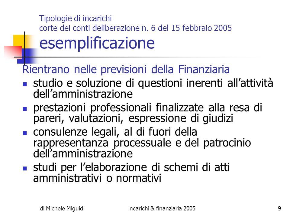 di Michele Miguidiincarichi & finanziaria 200530 Gli obiettivi Necessaria rispondenza dell incarico agli obiettivi dell amministrazione PEG RPP