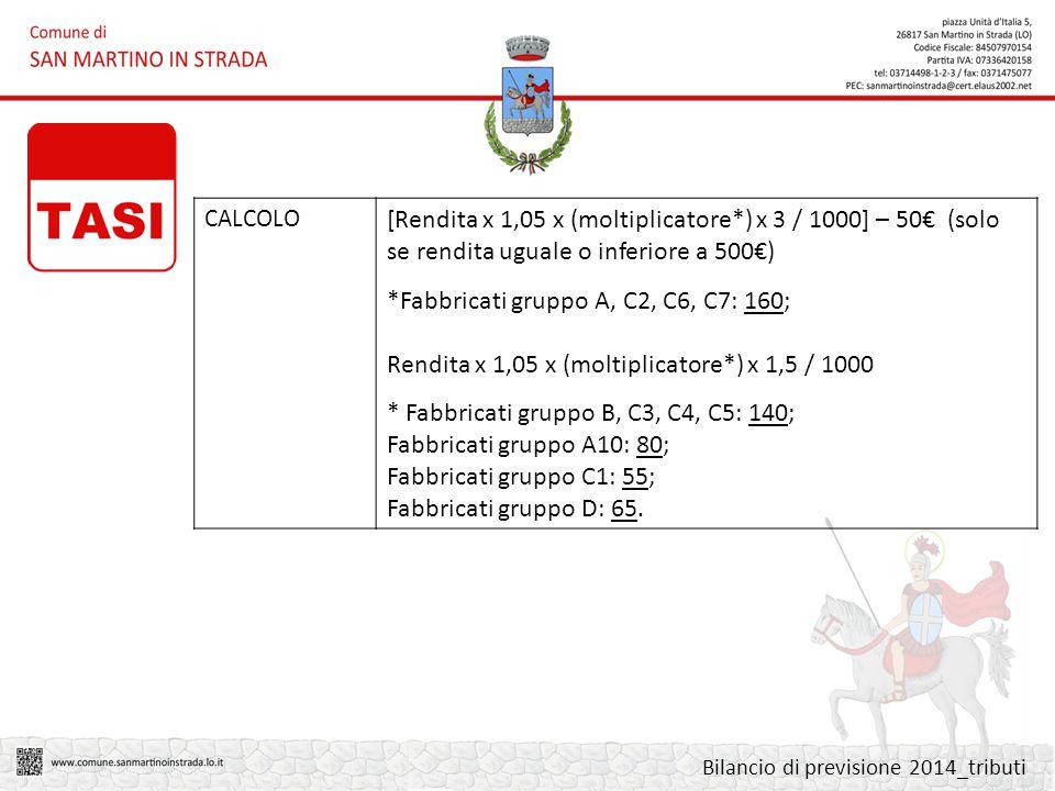 CALCOLO [Rendita x 1,05 x (moltiplicatore*) x 3 / 1000] – 50€ (solo se rendita uguale o inferiore a 500€) *Fabbricati gruppo A, C2, C6, C7: 160; Rendita x 1,05 x (moltiplicatore*) x 1,5 / 1000 * Fabbricati gruppo B, C3, C4, C5: 140; Fabbricati gruppo A10: 80; Fabbricati gruppo C1: 55; Fabbricati gruppo D: 65.