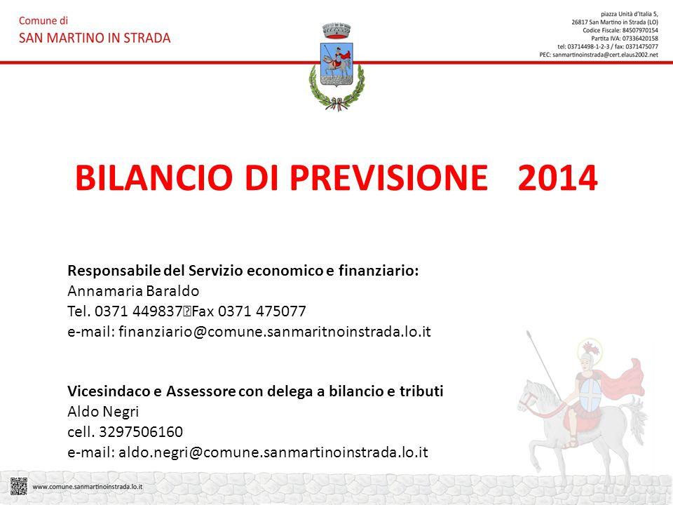 BILANCIO DI PREVISIONE 2014 Responsabile del Servizio economico e finanziario: Annamaria Baraldo Tel.