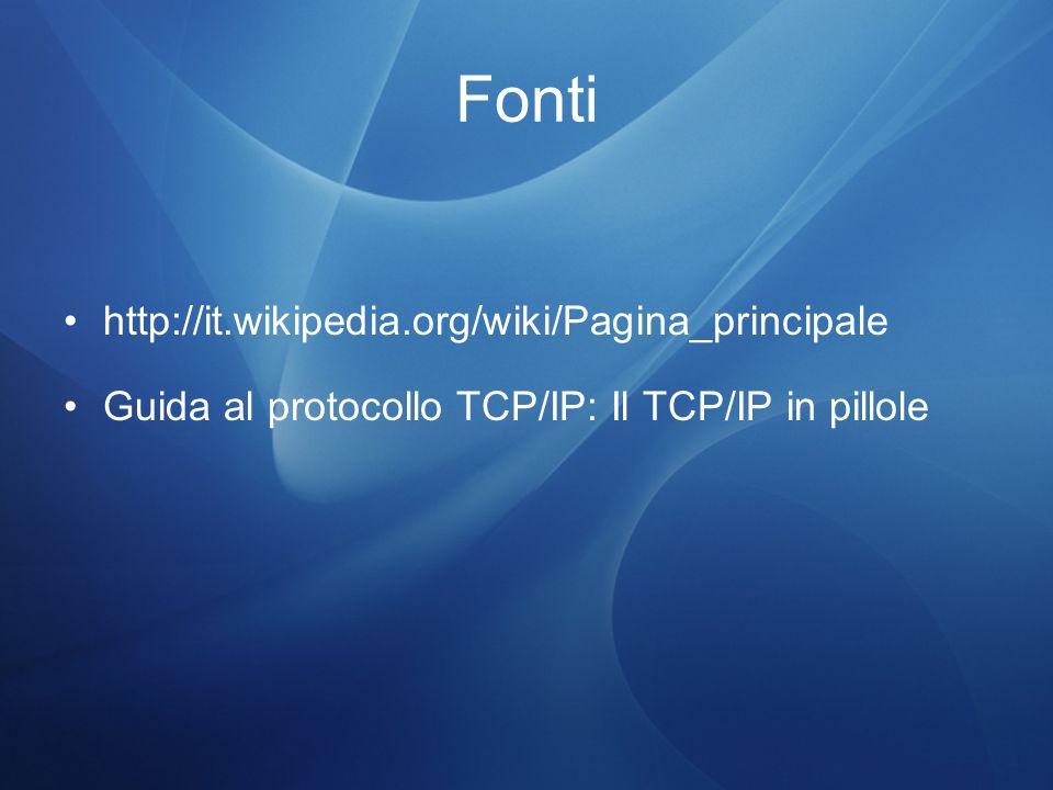 Fonti http://it.wikipedia.org/wiki/Pagina_principale Guida al protocollo TCP/IP: Il TCP/IP in pillole