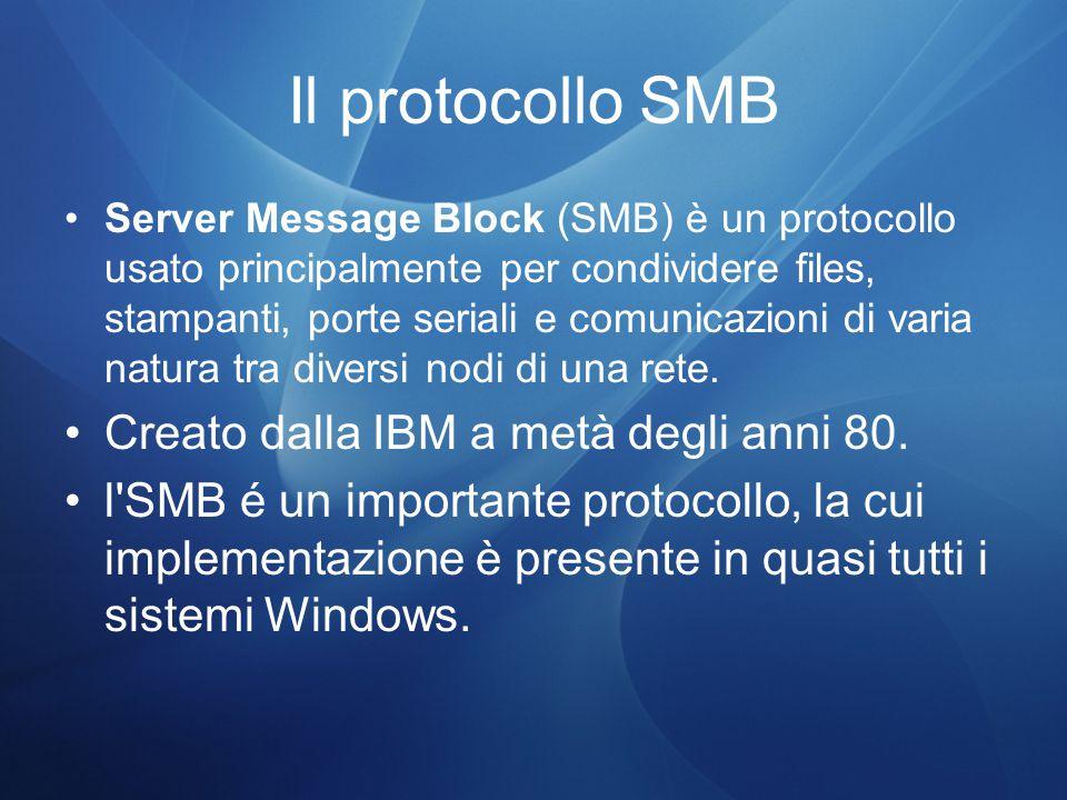 Il protocollo SMB Server Message Block (SMB) è un protocollo usato principalmente per condividere files, stampanti, porte seriali e comunicazioni di varia natura tra diversi nodi di una rete.