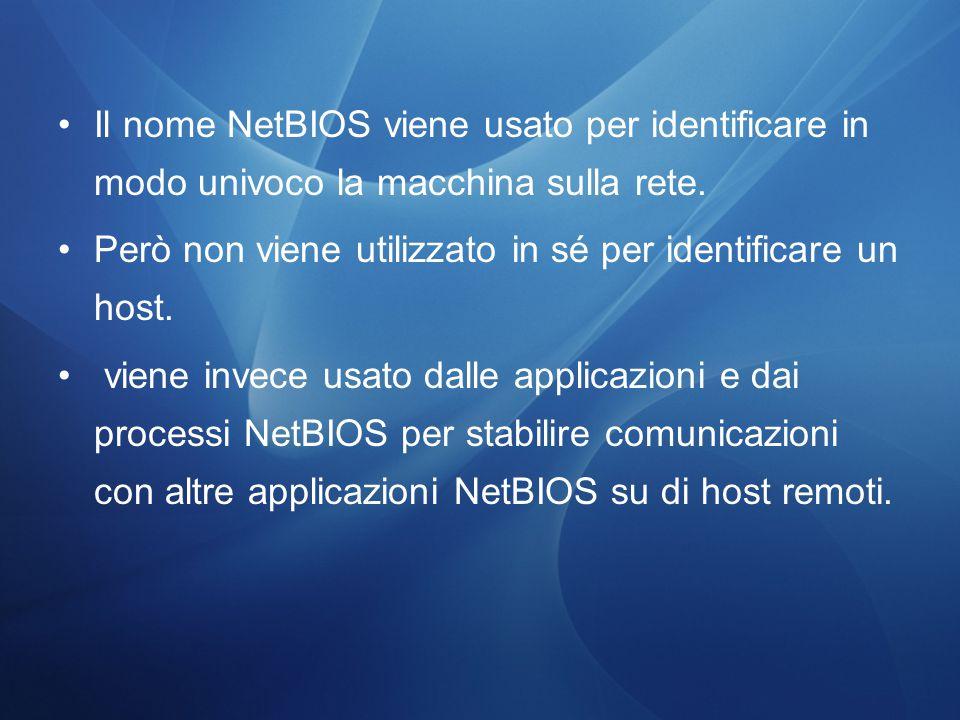 Il nome NetBIOS viene usato per identificare in modo univoco la macchina sulla rete.