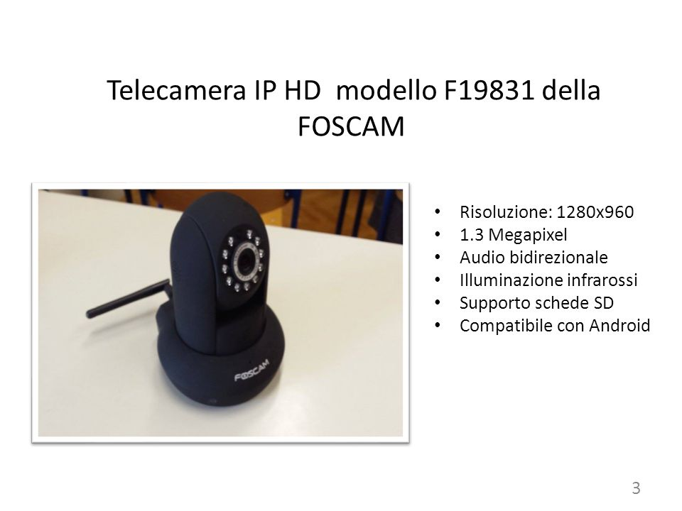 Telecamera IP HD modello F19831 della FOSCAM Risoluzione: 1280x960 1.3 Megapixel Audio bidirezionale Illuminazione infrarossi Supporto schede SD Compatibile con Android 3