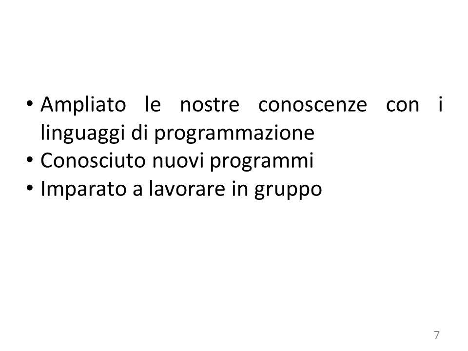 Ampliato le nostre conoscenze con i linguaggi di programmazione Conosciuto nuovi programmi Imparato a lavorare in gruppo 7