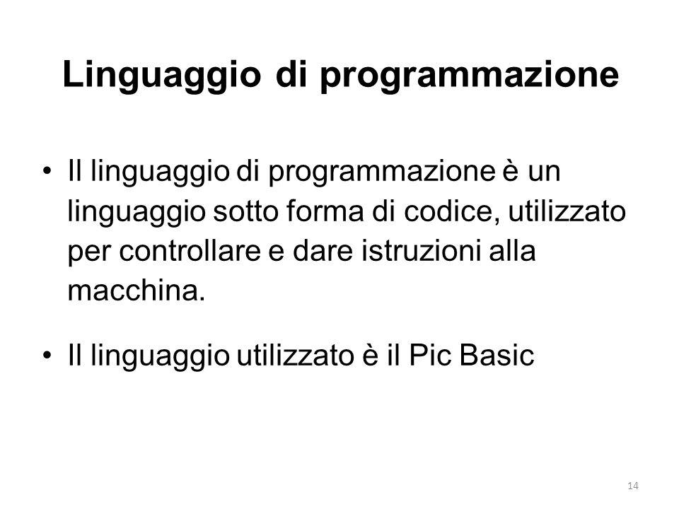 14 Linguaggio di programmazione Il linguaggio di programmazione è un linguaggio sotto forma di codice, utilizzato per controllare e dare istruzioni al