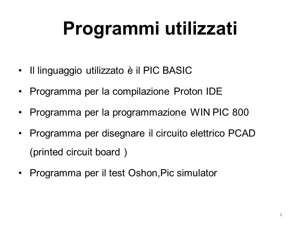 4 Programmi utilizzati Il linguaggio utilizzato è il PIC BASIC Programma per la compilazione Proton IDE Programma per la programmazione WIN PIC 800 Pr