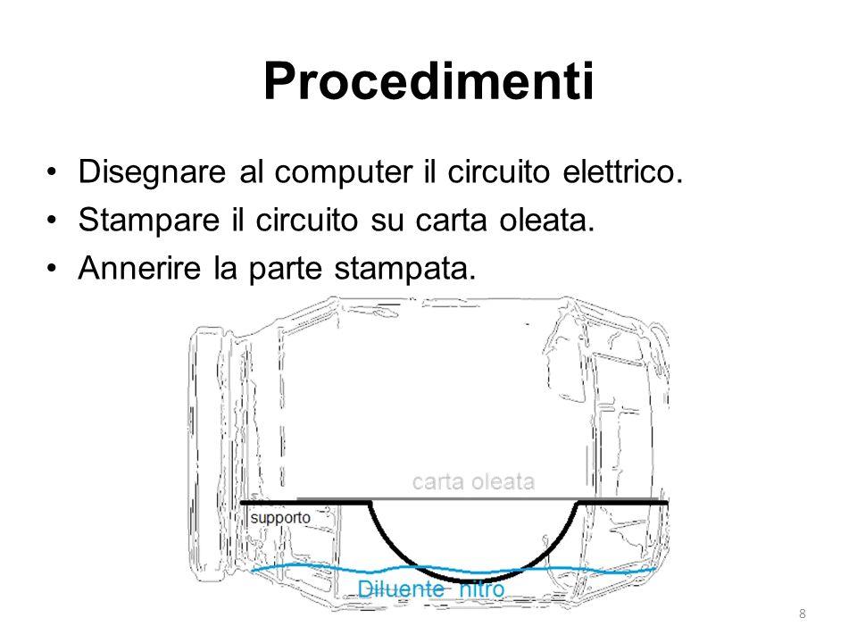 8 Procedimenti Disegnare al computer il circuito elettrico. Stampare il circuito su carta oleata. Annerire la parte stampata.