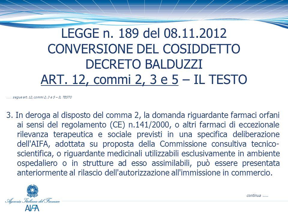 LEGGE n.189 del 08.11.2012 CONVERSIONE DEL COSIDDETTO DECRETO BALDUZZI ART.