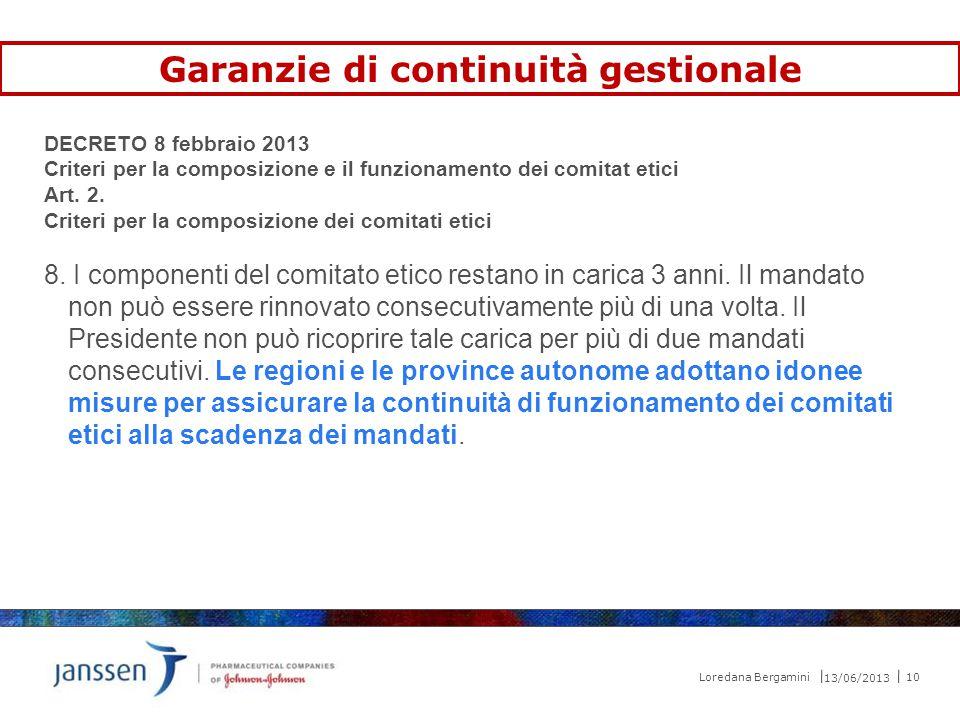 DECRETO 8 febbraio 2013 Criteri per la composizione e il funzionamento dei comitat etici Art. 2. Criteri per la composizione dei comitati etici 8. I c
