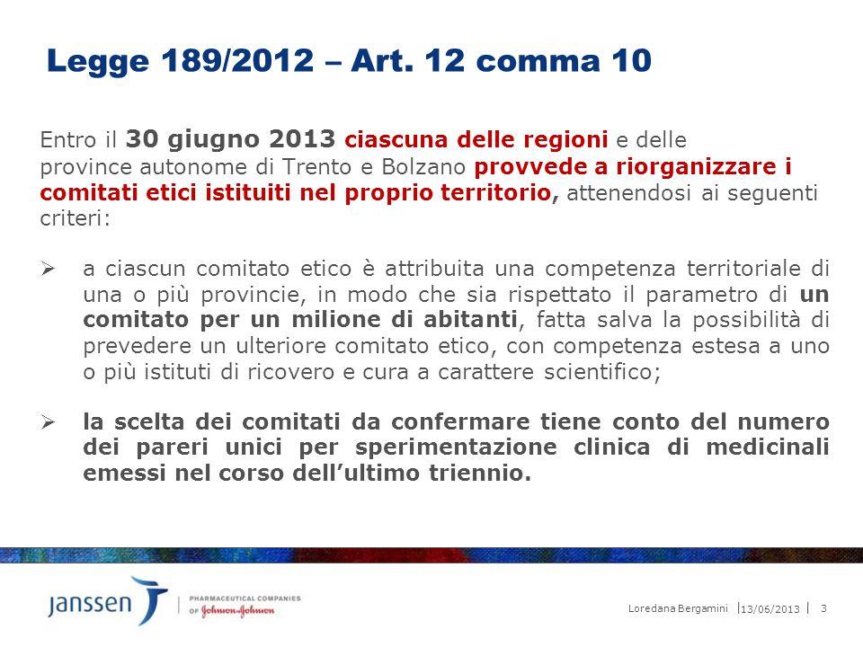 13/06/2013 3 Loredana Bergamini Legge 189/2012 – Art. 12 comma 10 Entro il 30 giugno 2013 ciascuna delle regioni e delle province autonome di Trento e