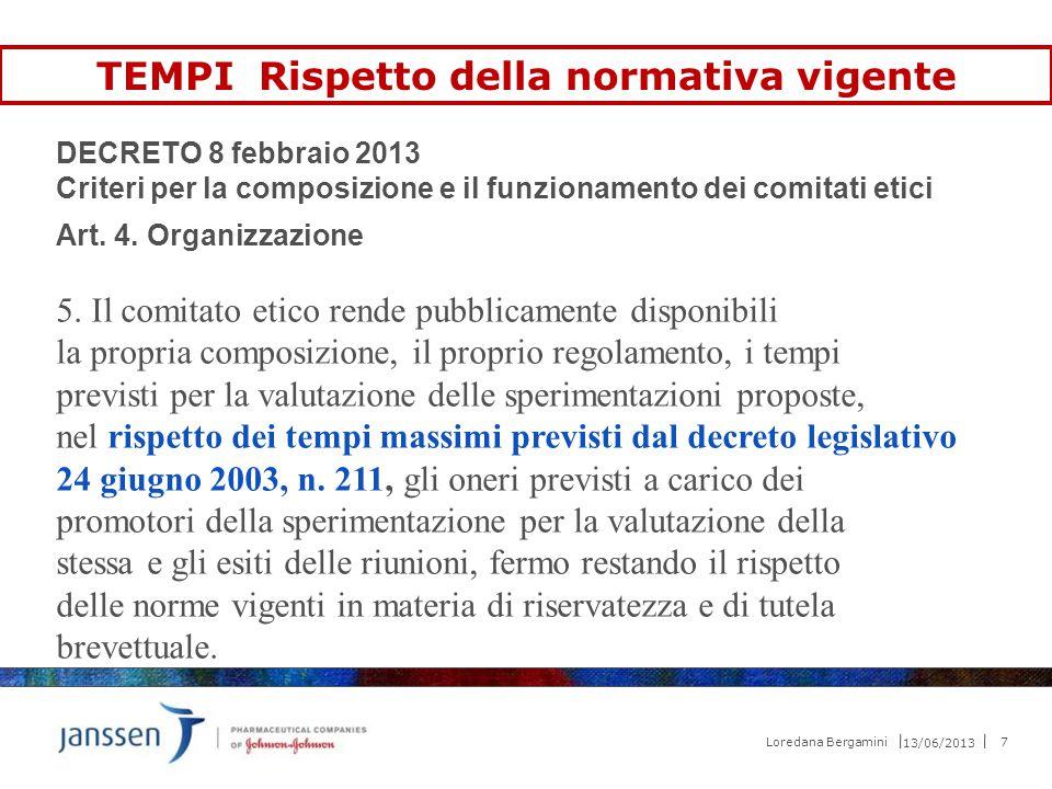 TEMPI Rispetto della normativa vigente DECRETO 8 febbraio 2013 Criteri per la composizione e il funzionamento dei comitati etici Art. 4. Organizzazion