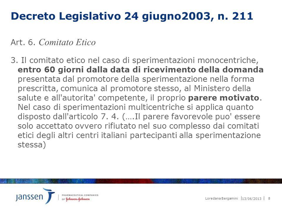 Decreto Legislativo 24 giugno2003, n. 211 Art. 6. Comitato Etico 3. Il comitato etico nel caso di sperimentazioni monocentriche, entro 60 giorni dalla