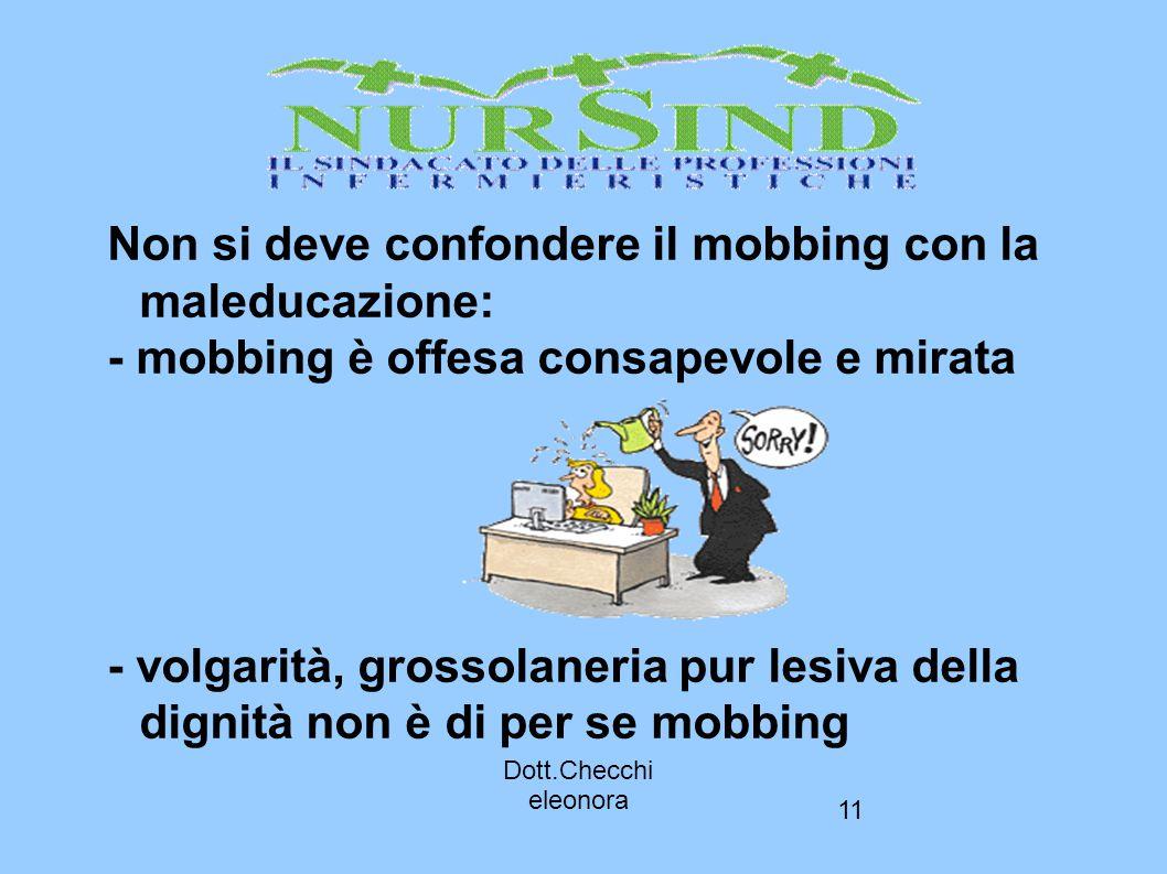 11 Non si deve confondere il mobbing con la maleducazione: - mobbing è offesa consapevole e mirata - volgarità, grossolaneria pur lesiva della dignità