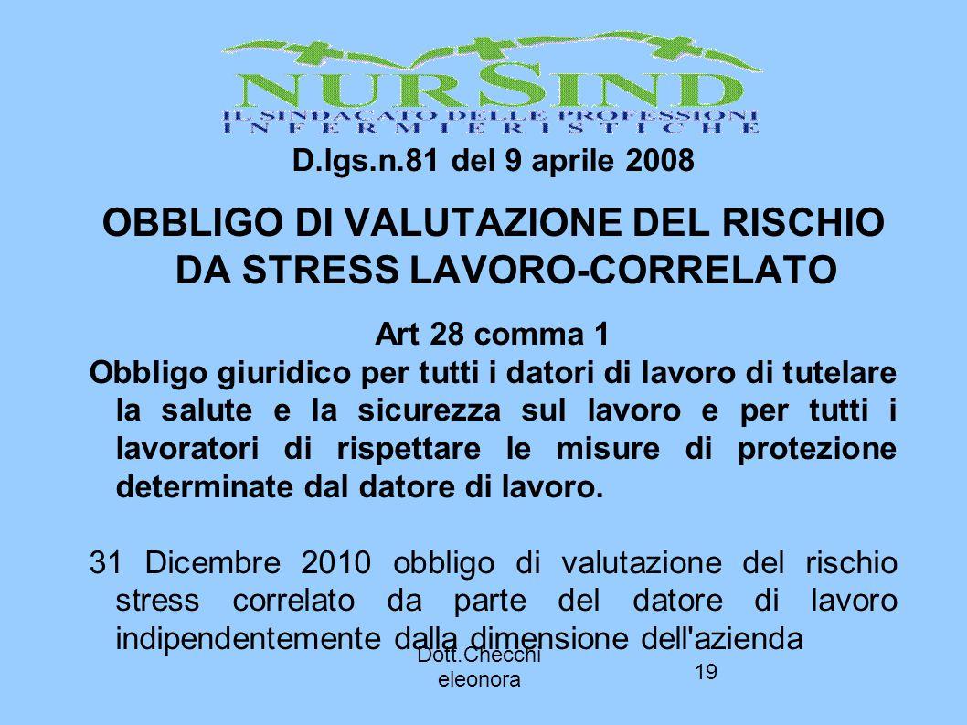 19 D.lgs.n.81 del 9 aprile 2008 OBBLIGO DI VALUTAZIONE DEL RISCHIO DA STRESS LAVORO-CORRELATO Art 28 comma 1 Obbligo giuridico per tutti i datori di l