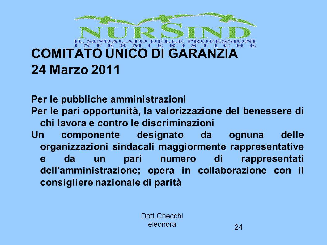 24 COMITATO UNICO DI GARANZIA 24 Marzo 2011 Per le pubbliche amministrazioni Per le pari opportunità, la valorizzazione del benessere di chi lavora e