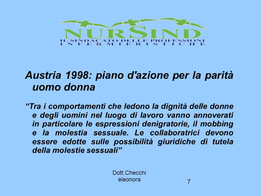 """7 Dott.Checchi eleonora Austria 1998: piano d'azione per la parità uomo donna """"Tra i comportamenti che ledono la dignità delle donne e degli uomini ne"""