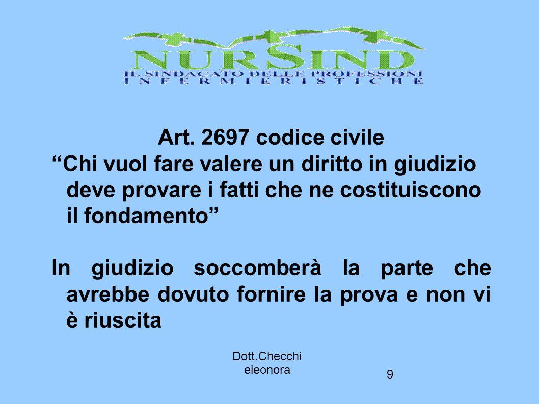 """9 Art. 2697 codice civile """"Chi vuol fare valere un diritto in giudizio deve provare i fatti che ne costituiscono il fondamento"""" In giudizio soccomberà"""