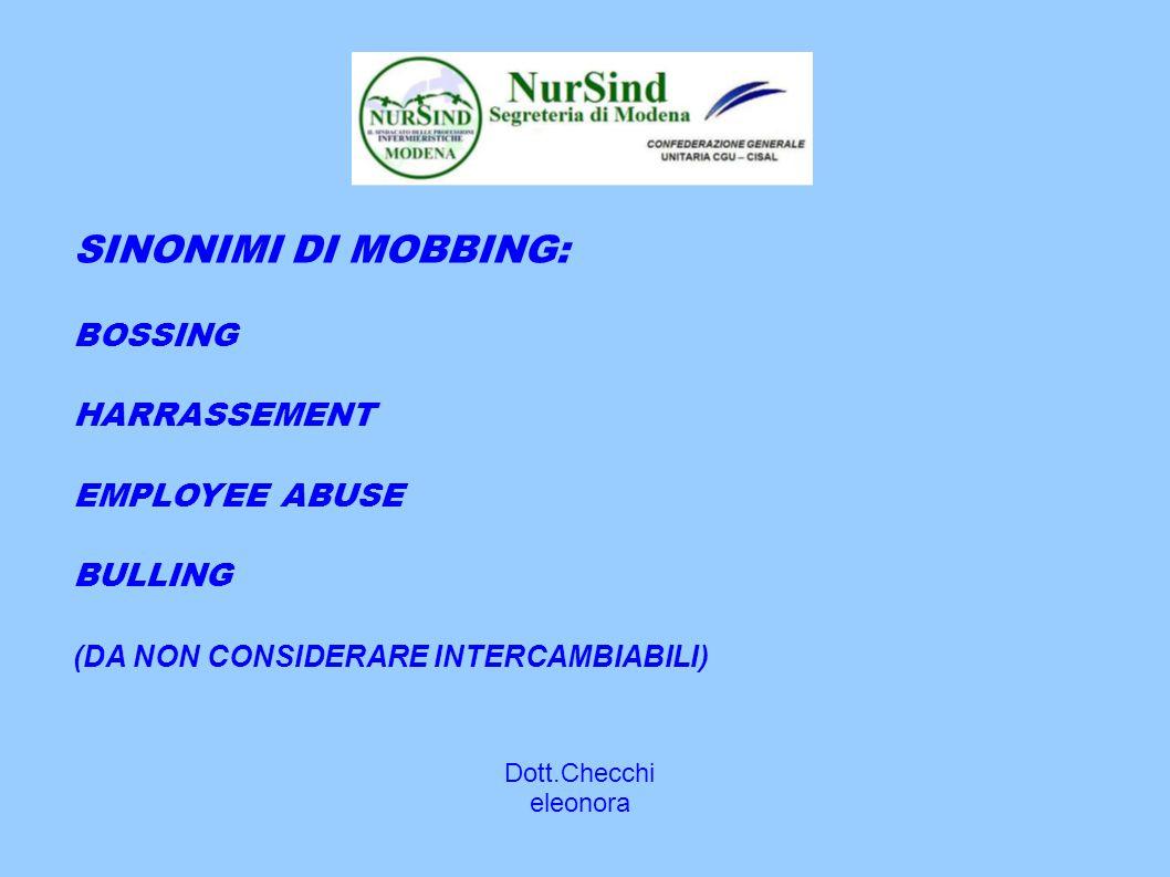 Dott.Checchi eleonora SINONIMI DI MOBBING: BOSSING HARRASSEMENT EMPLOYEE ABUSE BULLING (DA NON CONSIDERARE INTERCAMBIABILI)