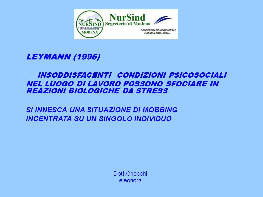 Dott.Checchi eleonora LEYMANN (1996) INSODDISFACENTI CONDIZIONI PSICOSOCIALI NEL LUOGO DI LAVORO POSSONO SFOCIARE IN REAZIONI BIOLOGICHE DA STRESS SI INNESCA UNA SITUAZIONE DI MOBBING INCENTRATA SU UN SINGOLO INDIVIDUO