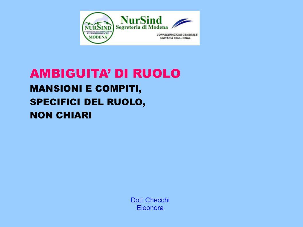 Dott.Checchi Eleonora AMBIGUITA' DI RUOLO MANSIONI E COMPITI, SPECIFICI DEL RUOLO, NON CHIARI