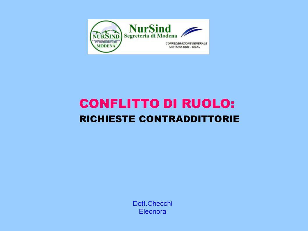 Dott.Checchi Eleonora CONFLITTO DI RUOLO: RICHIESTE CONTRADDITTORIE