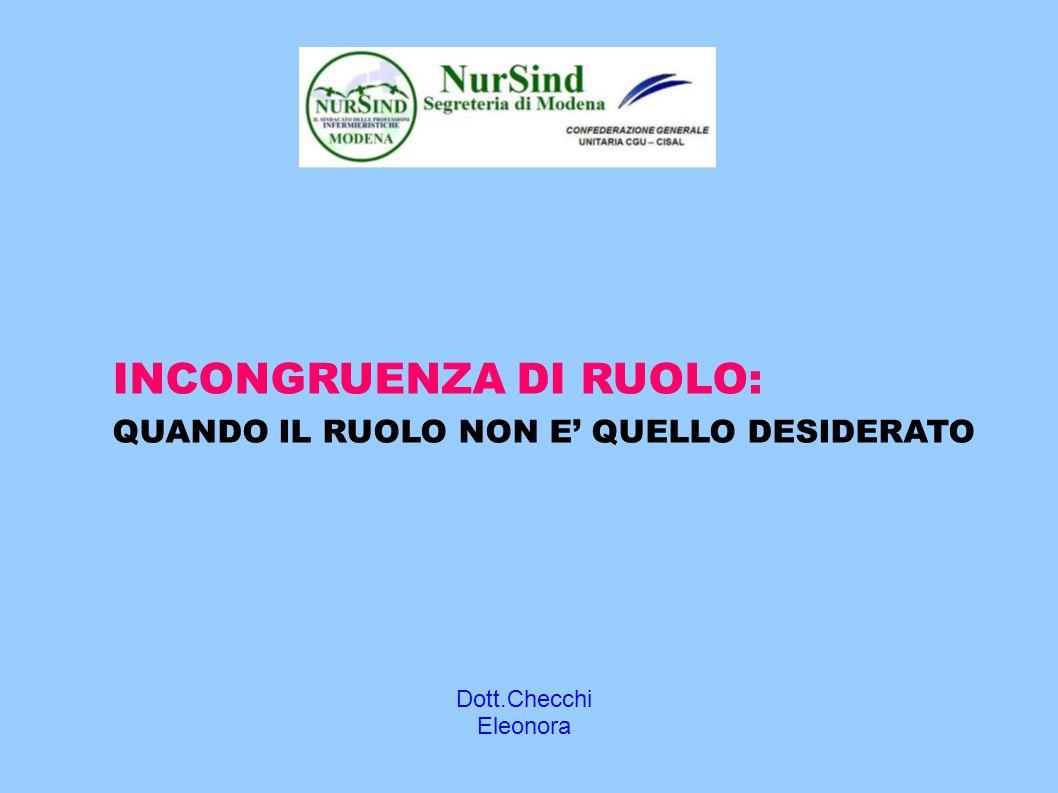 Dott.Checchi Eleonora INCONGRUENZA DI RUOLO: QUANDO IL RUOLO NON E' QUELLO DESIDERATO