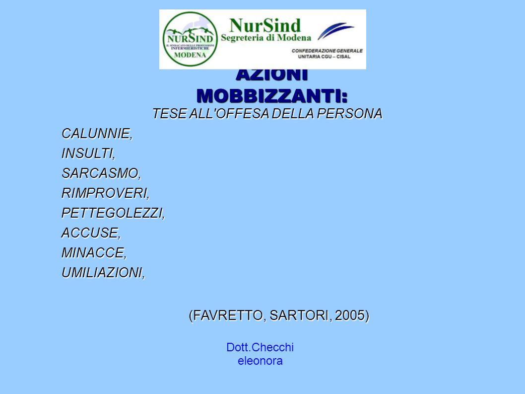 Dott.Checchi eleonora AZIONI MOBBIZZANTI: TESE ALL OFFESA DELLA PERSONA CALUNNIE,INSULTI,SARCASMO,RIMPROVERI,PETTEGOLEZZI,ACCUSE,MINACCE,UMILIAZIONI, (FAVRETTO, SARTORI, 2005)