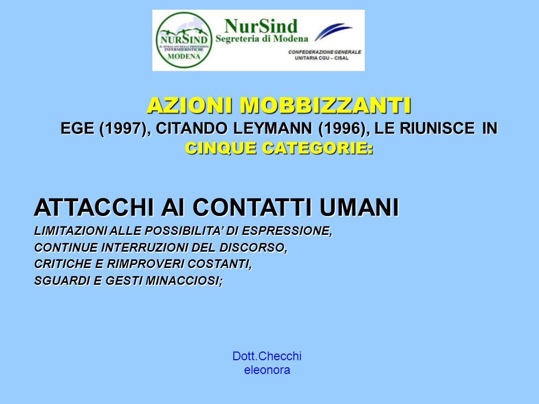 Dott.Checchi eleonora AZIONI MOBBIZZANTI EGE (1997), CITANDO LEYMANN (1996), LE RIUNISCE IN CINQUE CATEGORIE: ATTACCHI AI CONTATTI UMANI LIMITAZIONI ALLE POSSIBILITA' DI ESPRESSIONE, CONTINUE INTERRUZIONI DEL DISCORSO, CRITICHE E RIMPROVERI COSTANTI, SGUARDI E GESTI MINACCIOSI;