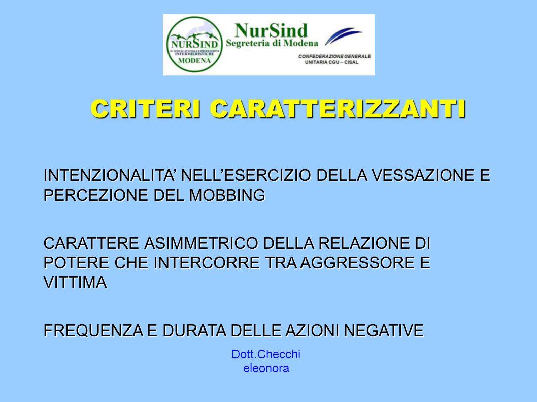 Dott.Checchi eleonora CRITERI CARATTERIZZANTI INTENZIONALITA' NELL'ESERCIZIO DELLA VESSAZIONE E PERCEZIONE DEL MOBBING CARATTERE ASIMMETRICO DELLA RELAZIONE DI POTERE CHE INTERCORRE TRA AGGRESSORE E VITTIMA FREQUENZA E DURATA DELLE AZIONI NEGATIVE