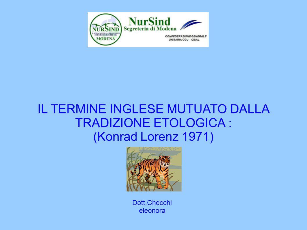 IL TERMINE INGLESE MUTUATO DALLA TRADIZIONE ETOLOGICA : (Konrad Lorenz 1971)