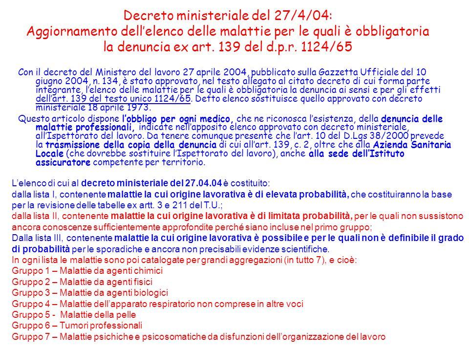 Contenuti del decreto 27/4/04 Il decreto amplia notevolmente il numero delle malattie per le quali è obbligatoria la denuncia.