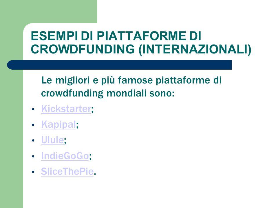 ESEMPI DI PIATTAFORME DI CROWDFUNDING (INTERNAZIONALI) Le migliori e più famose piattaforme di crowdfunding mondiali sono: Kickstarter; Kickstarter Ka