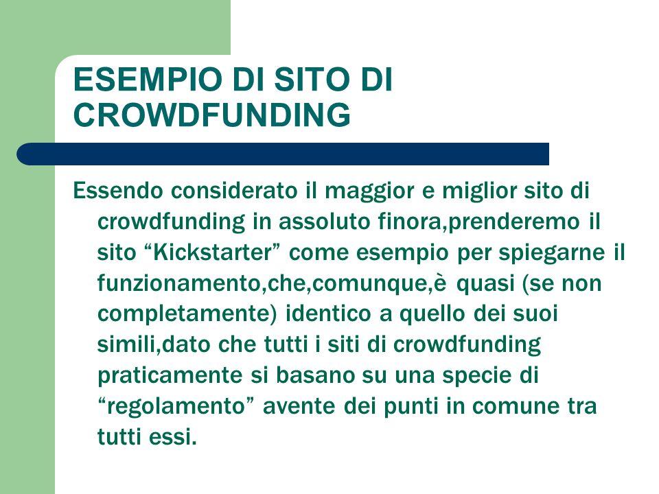 """ESEMPIO DI SITO DI CROWDFUNDING Essendo considerato il maggior e miglior sito di crowdfunding in assoluto finora,prenderemo il sito """"Kickstarter"""" come"""
