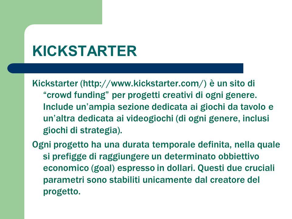 """KICKSTARTER Kickstarter (http://www.kickstarter.com/) è un sito di """"crowd funding"""" per progetti creativi di ogni genere. Include un'ampia sezione dedi"""