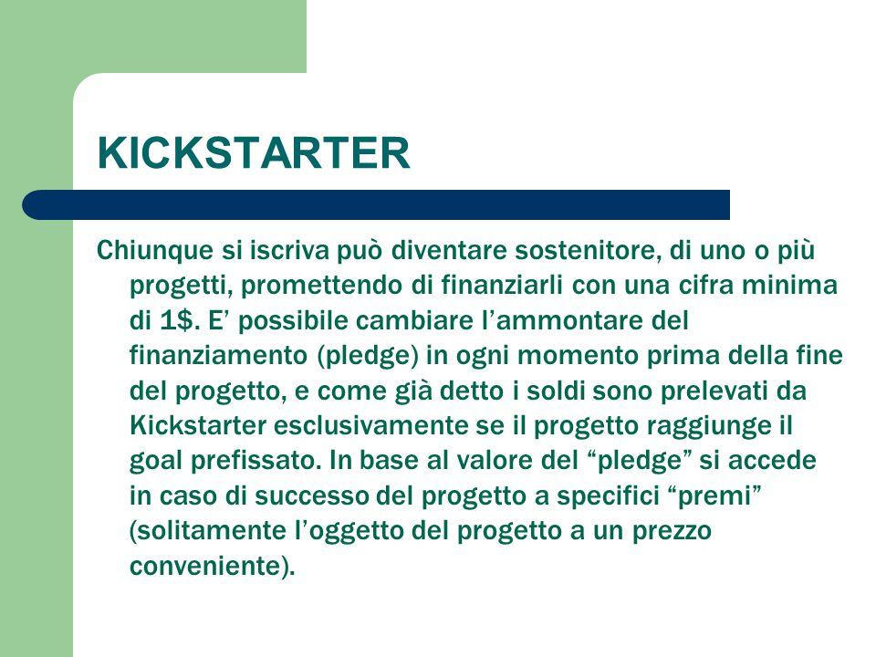 KICKSTARTER Chiunque si iscriva può diventare sostenitore, di uno o più progetti, promettendo di finanziarli con una cifra minima di 1$. E' possibile
